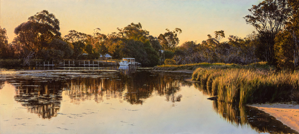 River Light - Murray River, Mandurah WA | Oil on gessoed panel 600mm x 400mm