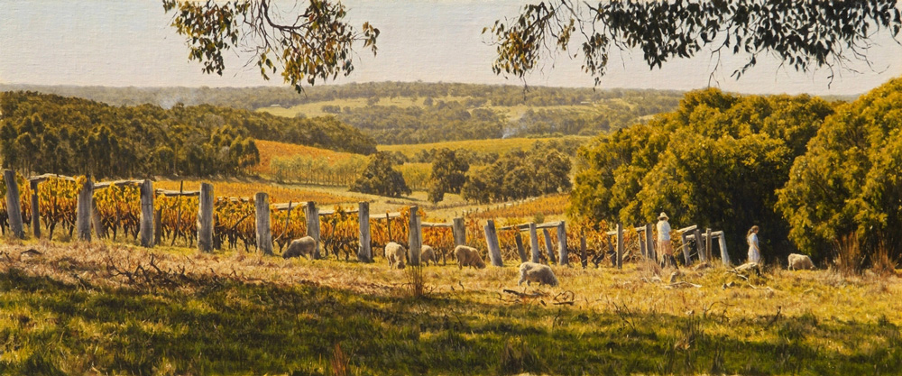 Tending the Vineyards - Yallingup WA | Oil on linen, 600mm x 400mm
